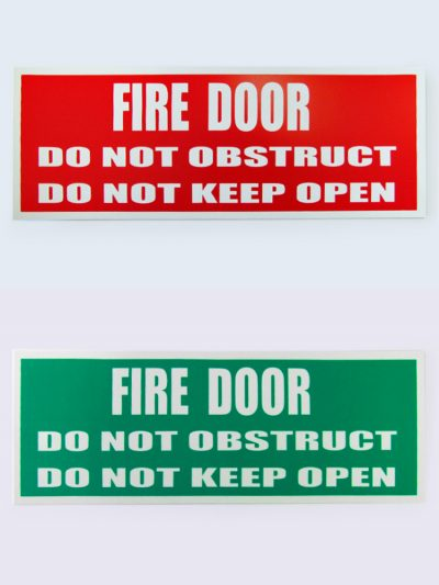 Gold Coast Fire Door Services — Hardware — Fire Door Signage — Red & Green