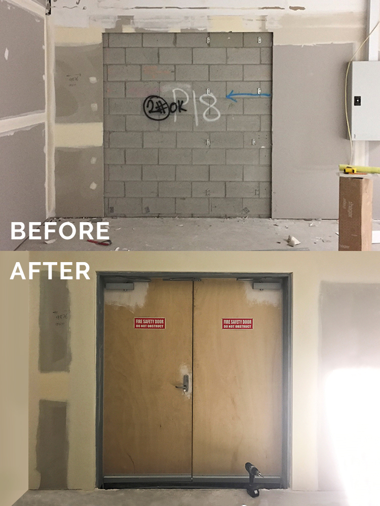 Before & After — Frames and Welding — Double doors with seals in existing block wall